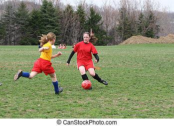 8, futball, lány, mező