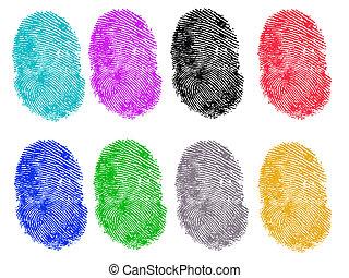 8, gekleurde, vingerafdrukken
