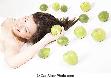 8, girl, fruit