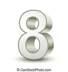 8, glänzend, silber, zahl