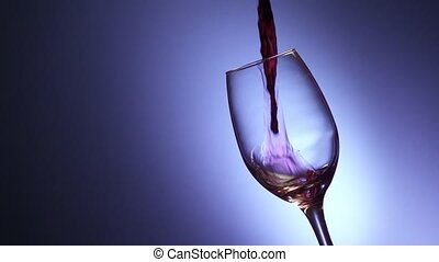 8 Glass Filled With Red Wine In Super Slowmotion 240p -...