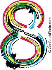 8, grunge, número, colorido