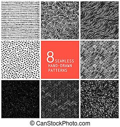 8, hand-drawn, seamless, patrones