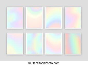 8, holographic, réaliste, arrière-plans, design., couleurs, ...