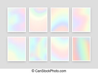 8, holographic, realista, fondos, design., colores, conjunto...