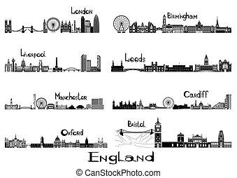 8, inglaterra, ciudades, signts, silueta