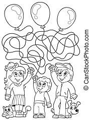 8, kleuren, kinderen, boek, doolhof