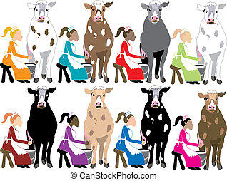 8 Ladies Milking - The 12 Days of Christmas, vector ...
