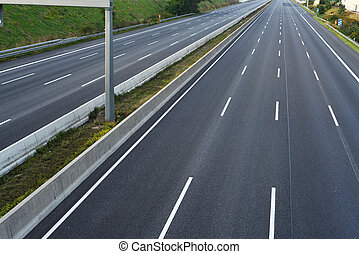 8-lane, /, 空, ハイウェー, ロードワーク