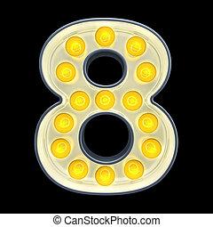 8, lumière, nombre, rendre, incandescent, retro, font., ampoule, 3d