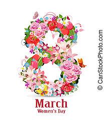 8, maart, begroetende kaart