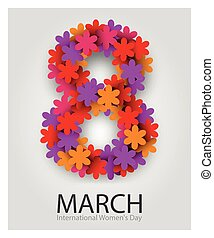 8 March. Beautiful flower number. Red Floral Greeting card. International Happy Womens Day.