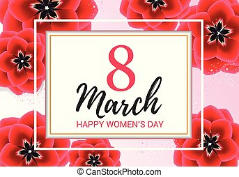 8 march greeting with red flowers on pink background. Happy women's day floral gift card design vector illustration