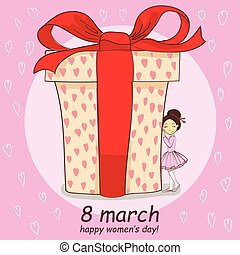 8 march hand drawing card with little girl and big gift