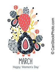 8 March. Happy Women's Day. Floral figure of eight. Spring holiday. Creative hand drawn colorful abstract flowers