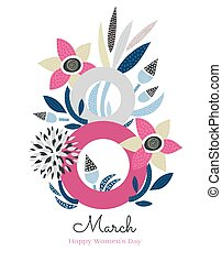 8 March. Happy Women's Day. Floral figure of eight. Spring holiday. Creative hand drawn colorful textured flowers