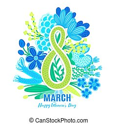 8 March. Happy Women's Day. Floral figure of eight. Spring holiday. Hand drawn colorful flowers. Springtime bloom