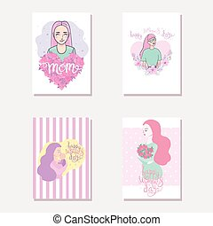 8 March. Happy Women's Day. The figure eight braided flowers. Spring holiday. Card design with hand drawn floral ornament. Colorful background with blossom. Size A4. Vector illustration, eps10