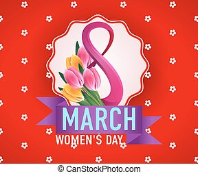 8 March international woman's day greeting card template