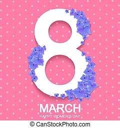 8 march international women's day background with blue hydrangea