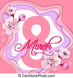 8 march international women's day background with flowers. Cherr