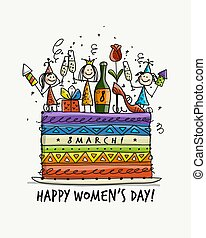 8 march, international women's day. Cake with pretty girls for your design