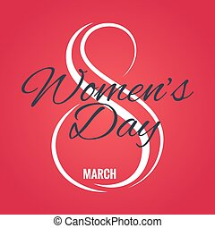 8 march logo. Womens day card on red background