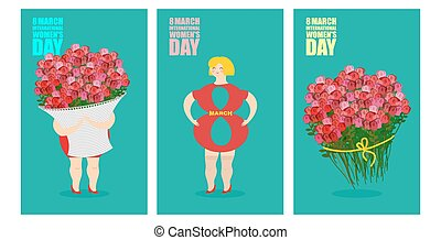 8 March set of postcards. International womens day. Woman and basket of flowers. Holiday gift bouquet of red roses. Silhouette girl in Figure 8.