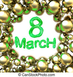 8 March symbol eight made of green fur flying in the space and round by golden frame. Can be used as a decorative greeting grungy or postcard for international Woman's Day. 3d illustration