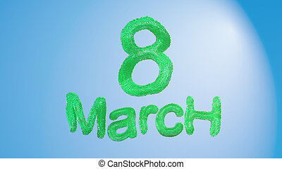 8 March symbol. Figure of eight made of green city blocks or fur . Can be used as a decorative greeting grungy or postcard for international Woman's Day 3d illustration