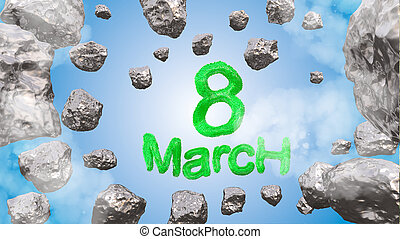 8 March symbol. Figure of eight made of green city blocks or fur flying in the space with asteroids. Can be used as a decorative greeting grungy or postcard for international Woman's Day. 3d illustration