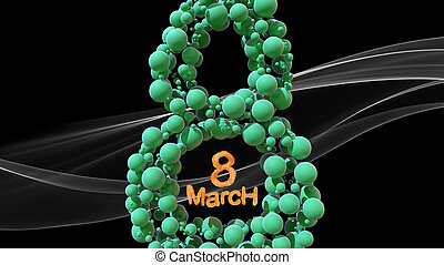 8 March symbol. Figure of eight made of green spheres flying in the space over white smoke. Can be used as a decorative greeting grungy or postcard for international Woman's Day. 3d illustration