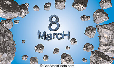 8 March symbol. Figure of eight made of blue city blocks or fur flying in the space with asteroids. Can be used as a decorative greeting grungy or postcard for international Woman's Day. 3d illustration