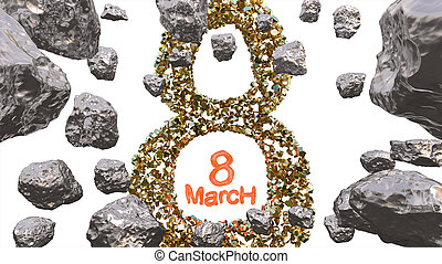 8 March symbol. Figure of eight made of golden gem blocks flying in the space with asteroids. Can be used as a decorative greeting grungy or postcard for international Woman's Day. 3d illustration