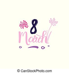 8 March Tag Sketch Happy Women Day Badge Lettering Design On White Background