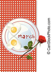 8 march template with number eight shaped omelette on plate