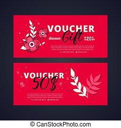 8 march voucher. Bright set of gift voucher 50 dollars...
