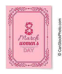 8 March Womens Day Best Wish Postcard Swirly Frame