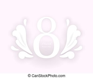 8 March Women's Day card in pink and white colors - 8 March...