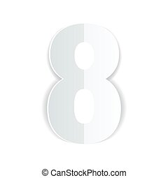 8 march Womens Day card on white background. Cut from paper. Vector illustration