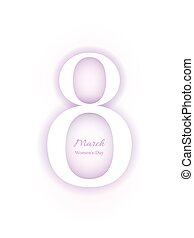 8 March Women's Day card, violet and white colors - 8 March...