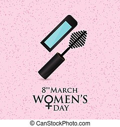 8 march women's day card with pattern background