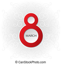 8 march Women's Day card with pattern (vector). Red eight...