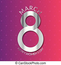 8 march women's day card with pink pattern background