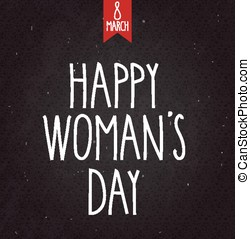 8 March, Womens Day handwritten text on black chalkboard with ribbon. Vector illustration.