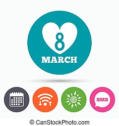 8 March Women's Day sign icon. Heart symbol.