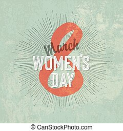 8 March, Women's Day Vintage Greeting Card