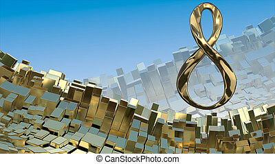 8 March word made of cast gold silver or platinum flying in the space over abstract mountain landscape background of metal boxes. Greeting postcard for international Woman's Day. 3d illustration