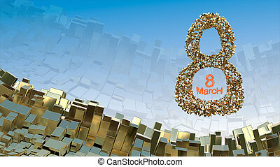 8 March word made of golden stones flying in the space over abstract mountain landscape background of metal boxes. Decorative greeting postcard for international Woman's Day. 3d illustration