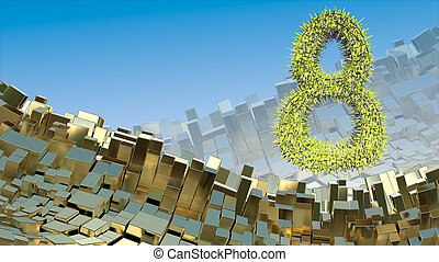 8 March word made of green city blocks flying in the space over abstract mountain landscape background of metal boxes. Decorative greeting postcard for international Woman's Day. 3d illustration